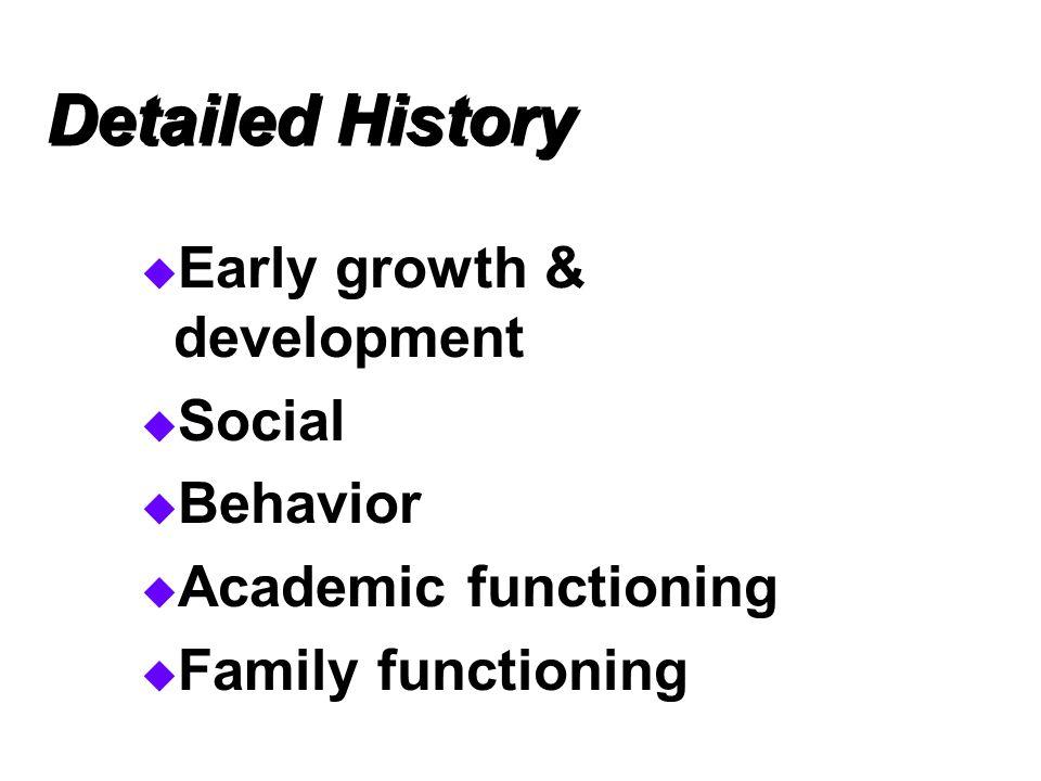 Detailed History Early growth & development Social Behavior