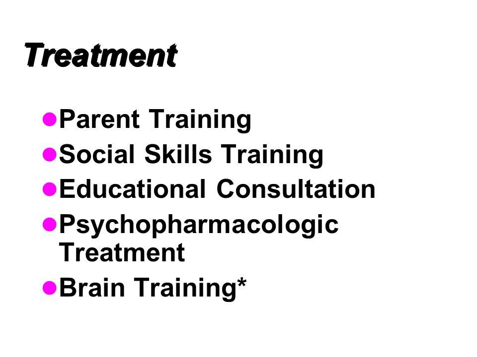 Treatment Parent Training Social Skills Training