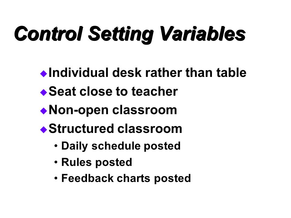 Control Setting Variables