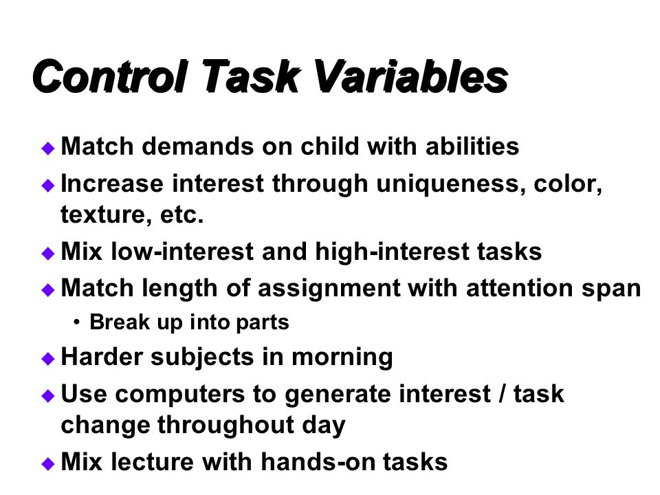 Control Task Variables