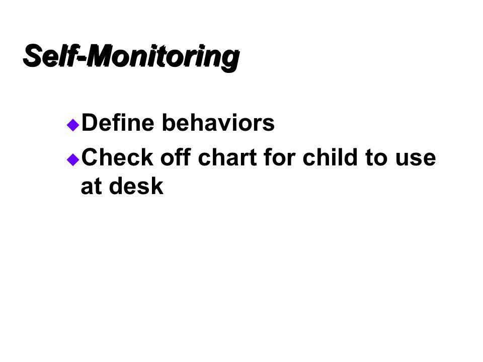 Self-Monitoring Define behaviors