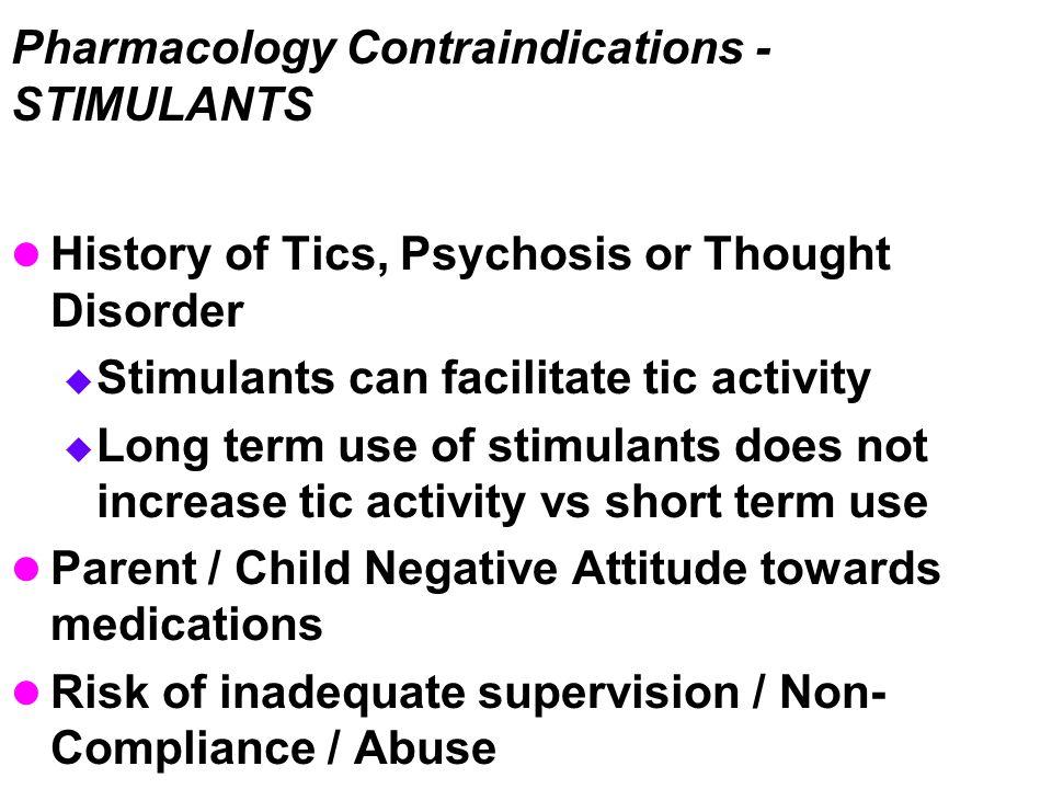 Pharmacology Contraindications - STIMULANTS