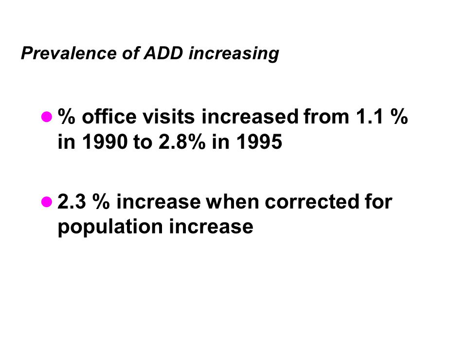 Prevalence of ADD increasing
