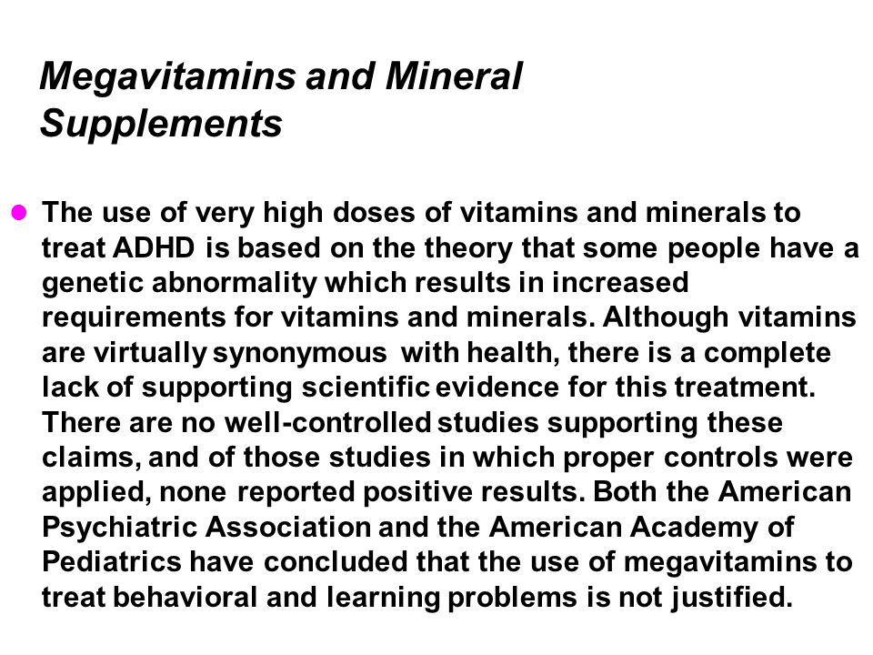 Megavitamins and Mineral Supplements