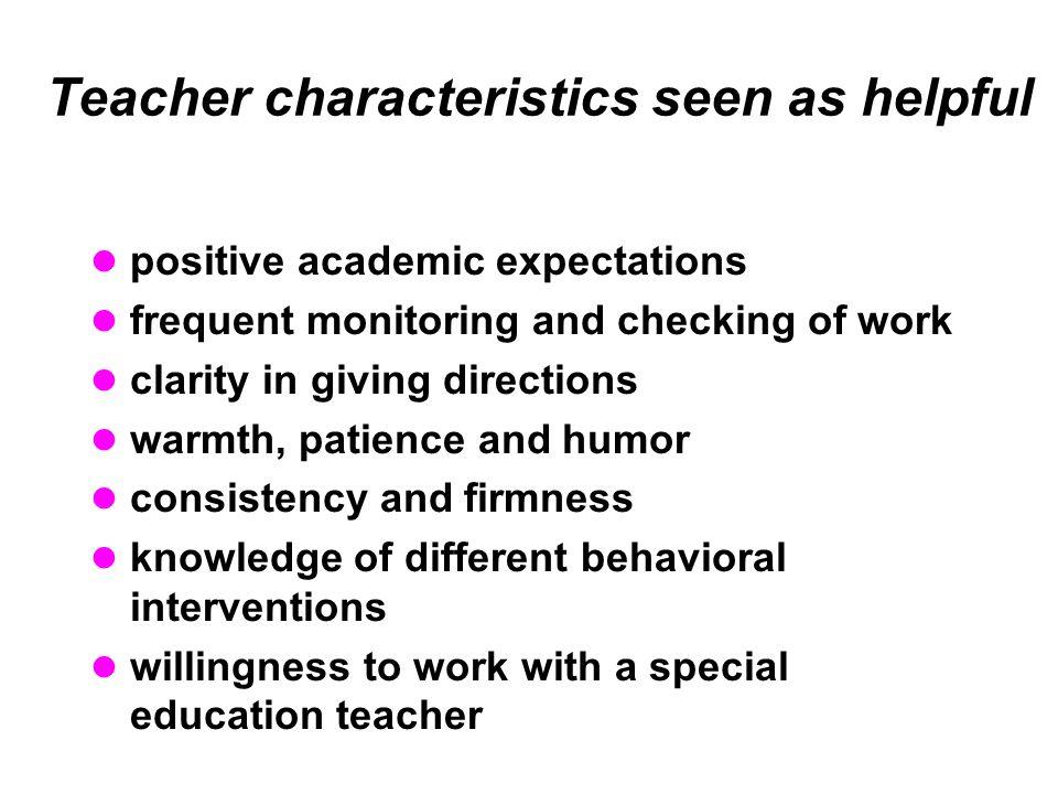 Teacher characteristics seen as helpful