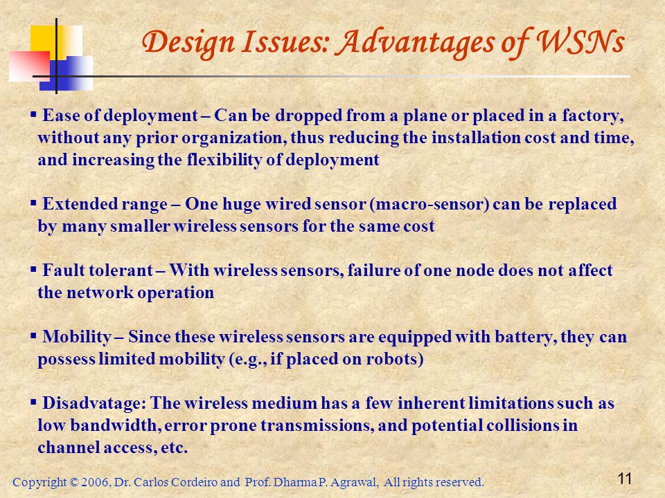 Design Issues: Advantages of WSNs