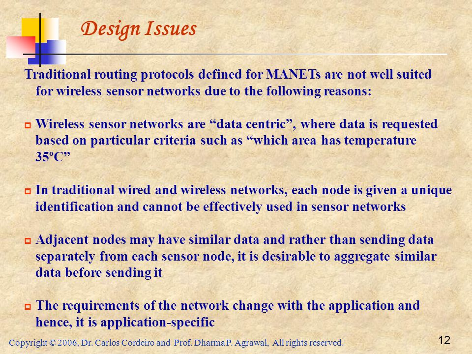 Design Issues Traditional routing protocols defined for MANETs are not well suited for wireless sensor networks due to the following reasons: