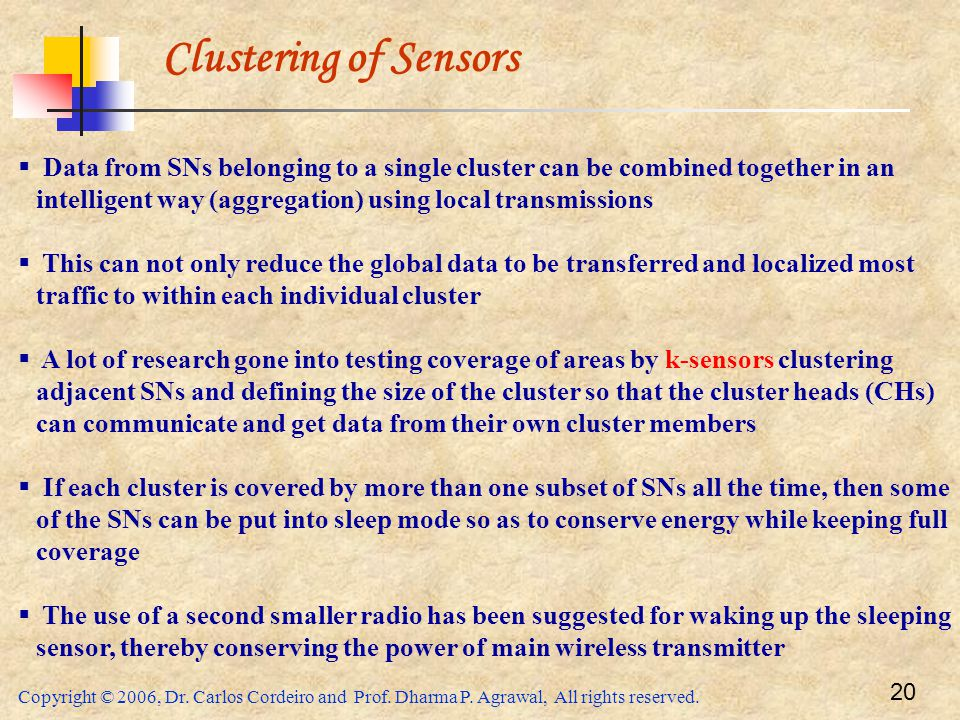 Clustering of Sensors