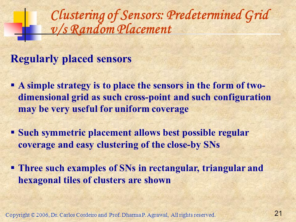 Clustering of Sensors: Predetermined Grid v/s Random Placement