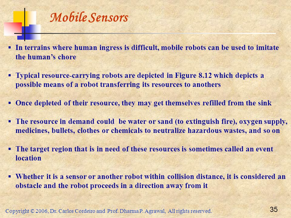 Mobile Sensors In terrains where human ingress is difficult, mobile robots can be used to imitate the human's chore.