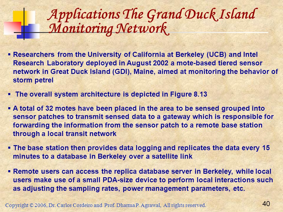 Applications The Grand Duck Island Monitoring Network