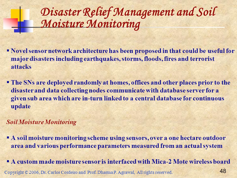Disaster Relief Management and Soil Moisture Monitoring
