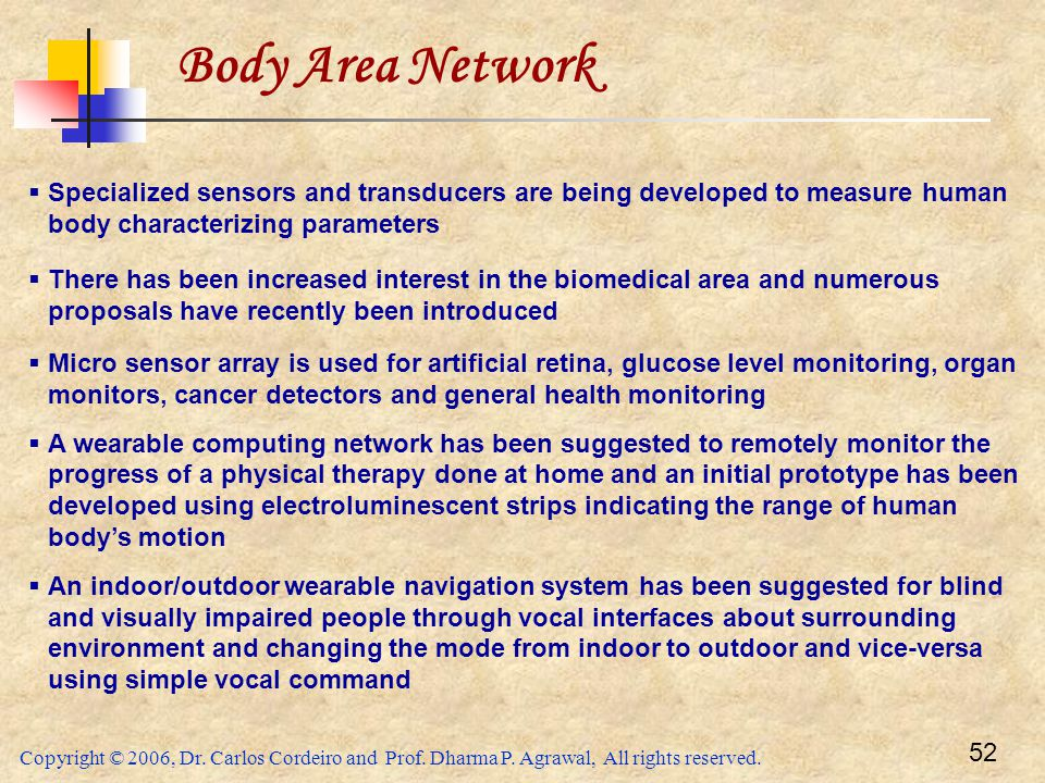 Body Area Network Specialized sensors and transducers are being developed to measure human body characterizing parameters.