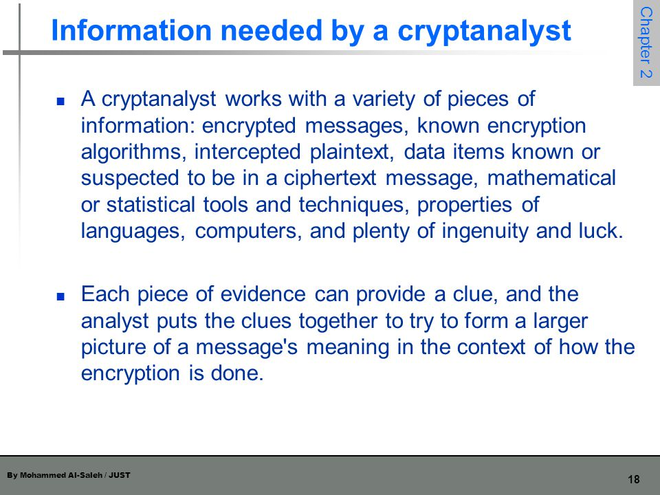 Information needed by a cryptanalyst