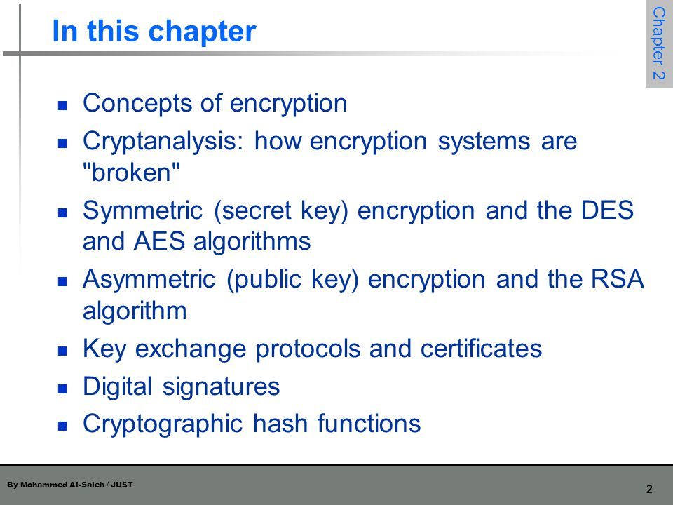 In this chapter Concepts of encryption