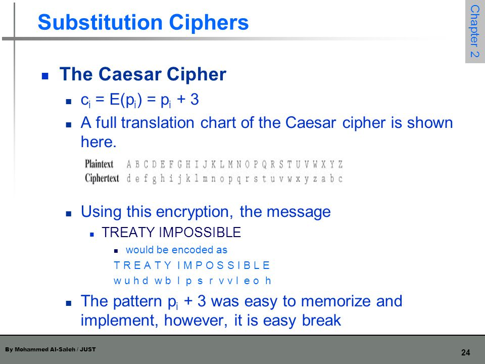 Substitution Ciphers The Caesar Cipher ci = E(pi) = pi + 3