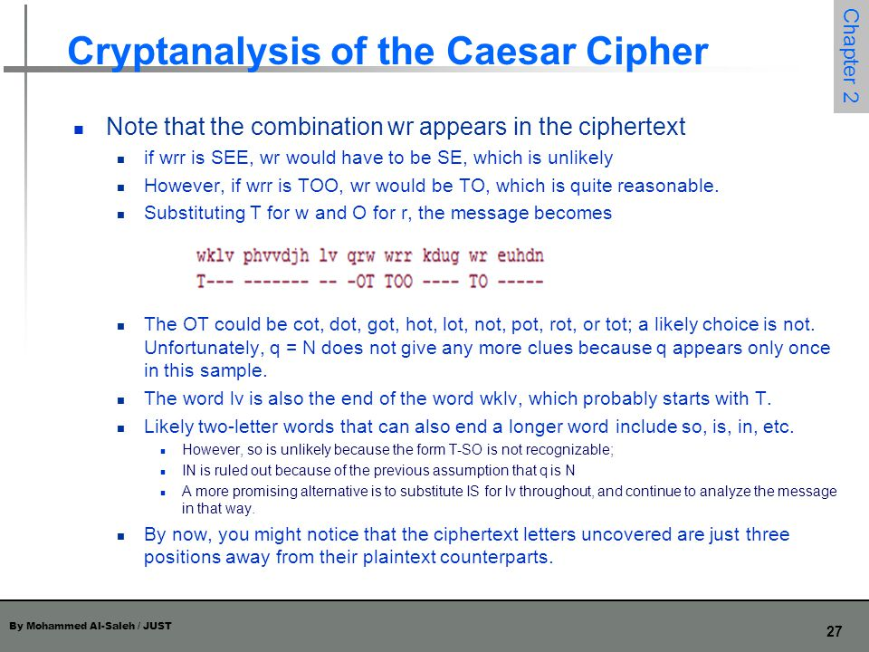 Cryptanalysis of the Caesar Cipher