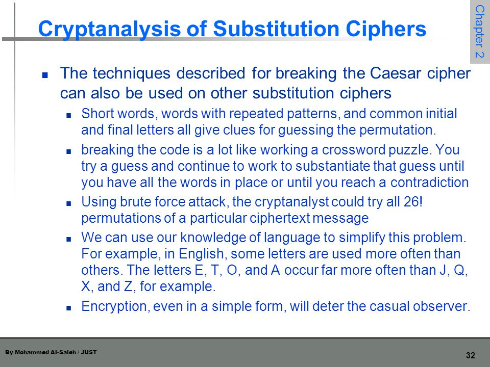 Cryptanalysis of Substitution Ciphers