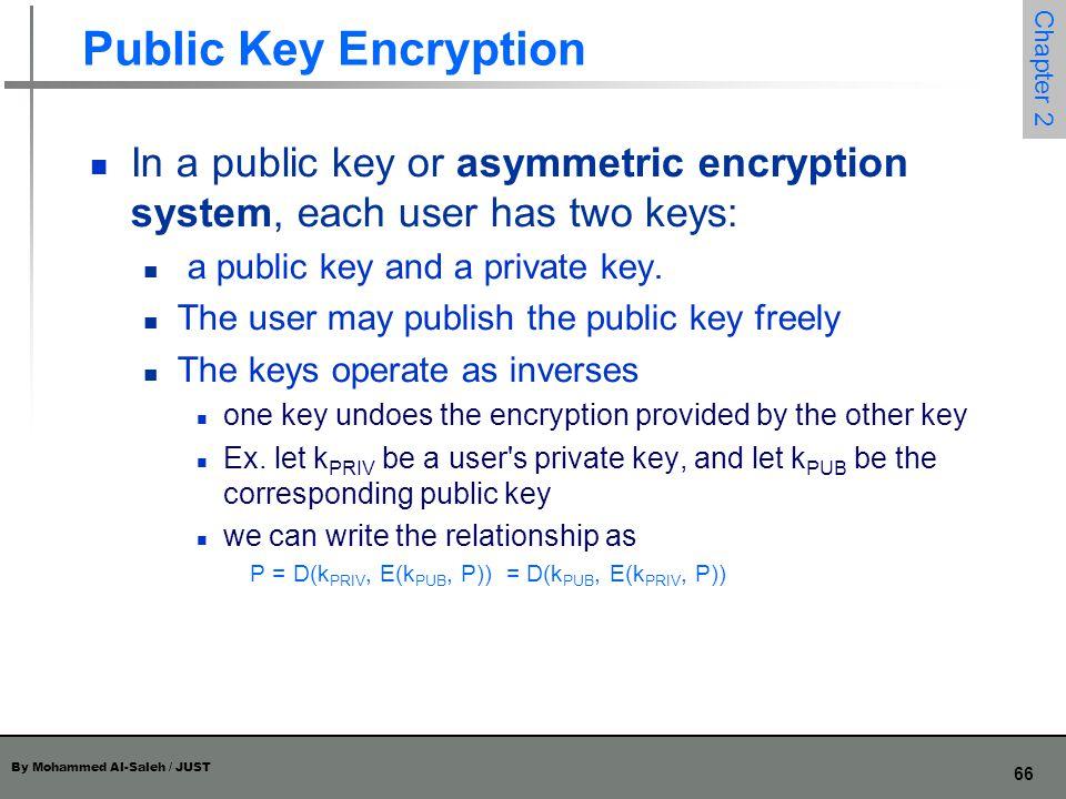 Public Key Encryption In a public key or asymmetric encryption system, each user has two keys: a public key and a private key.