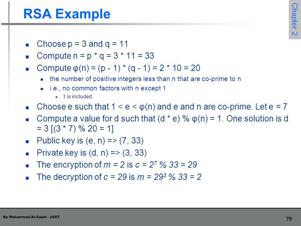 RSA Example Choose p = 3 and q = 11 Compute n = p * q = 3 * 11 = 33