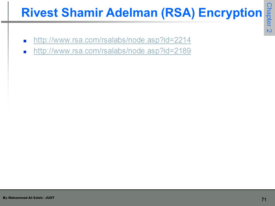 Rivest Shamir Adelman (RSA) Encryption