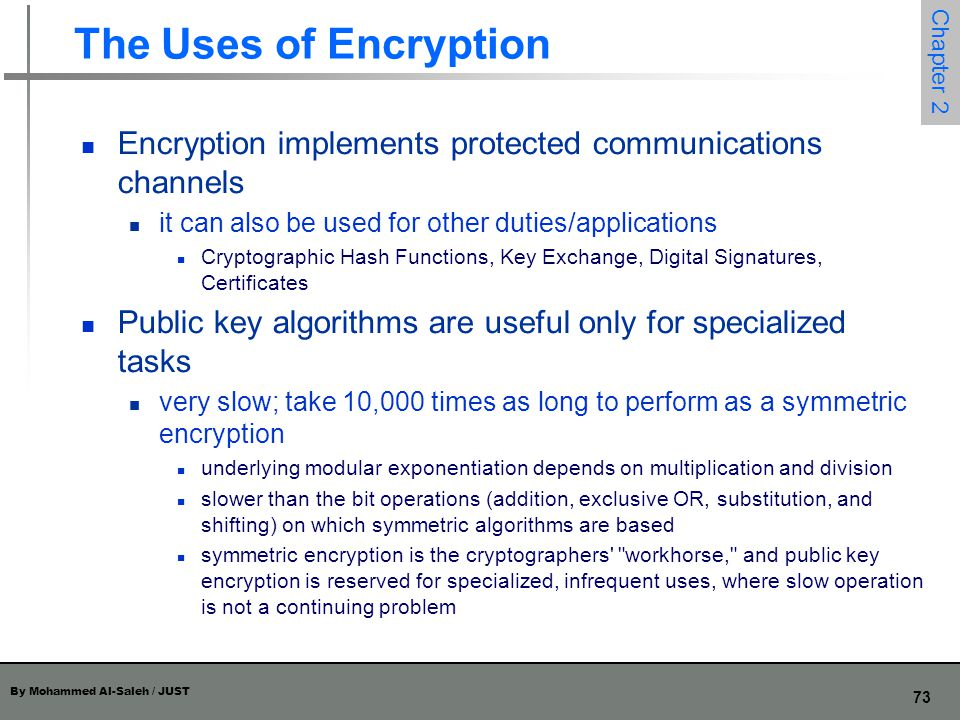 The Uses of Encryption Encryption implements protected communications channels. it can also be used for other duties/applications.