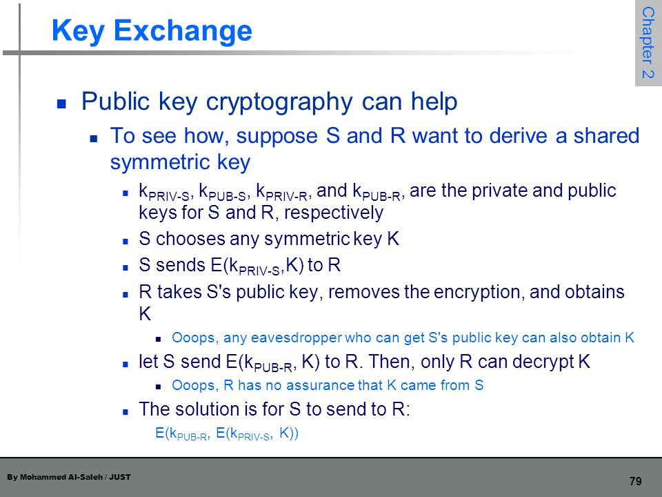 Key Exchange Public key cryptography can help