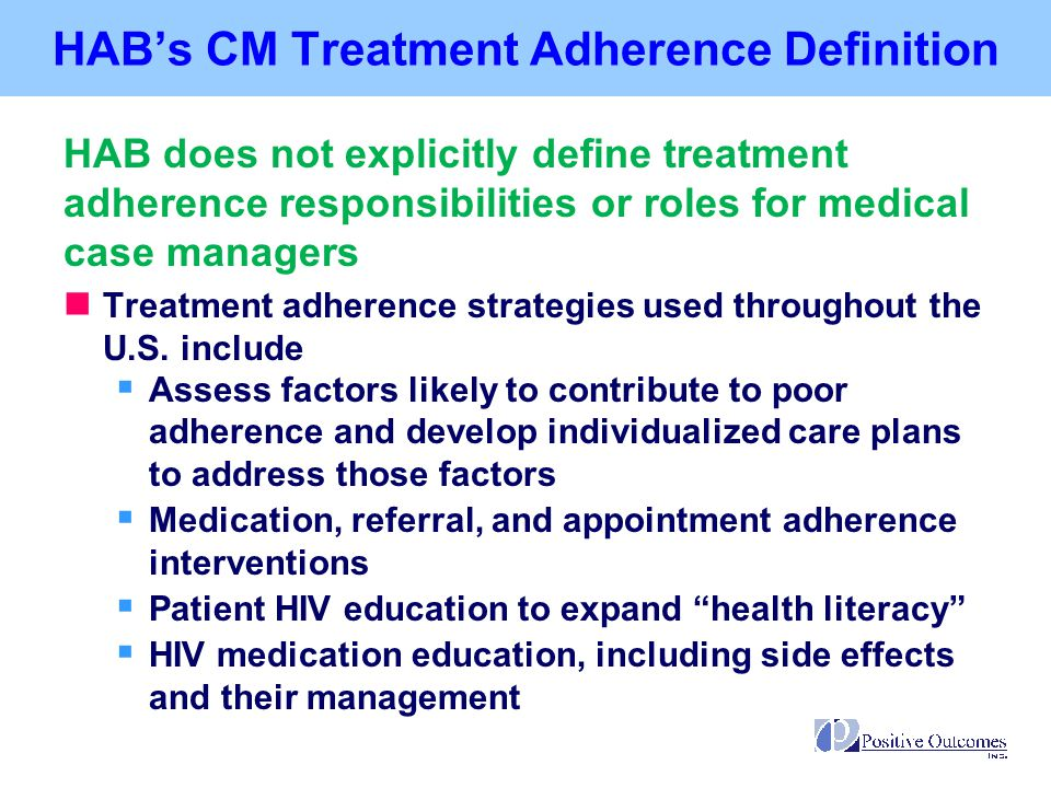 HAB's CM Treatment Adherence Definition