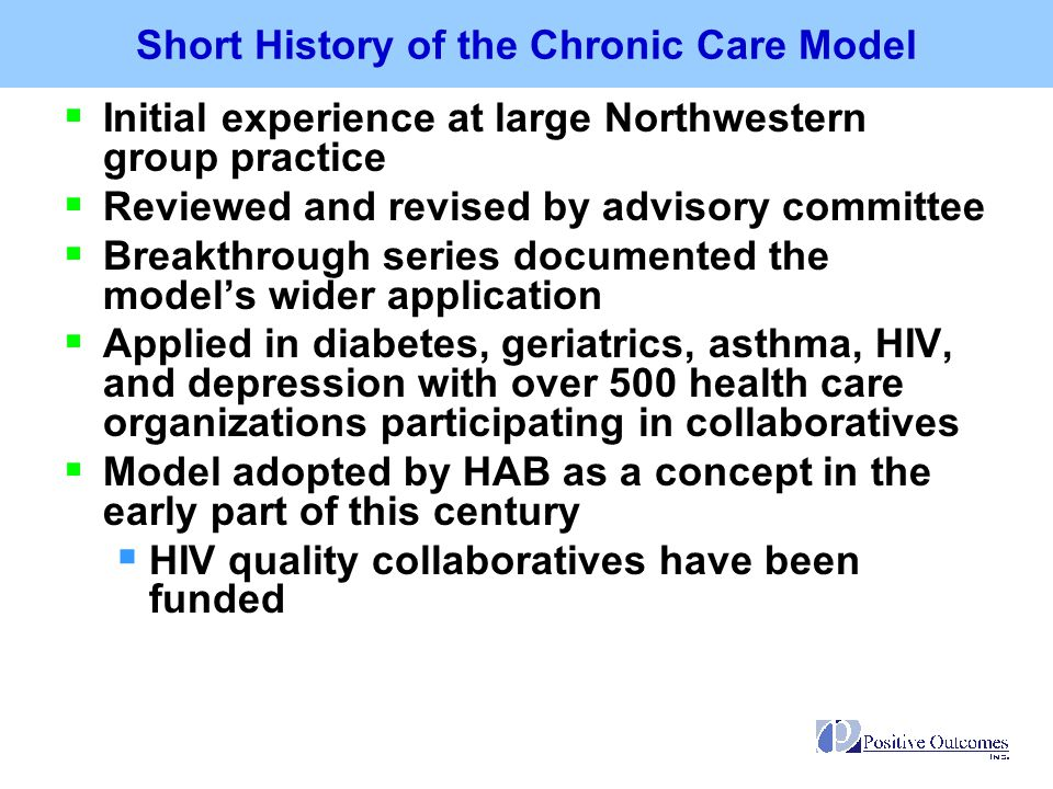 Short History of the Chronic Care Model
