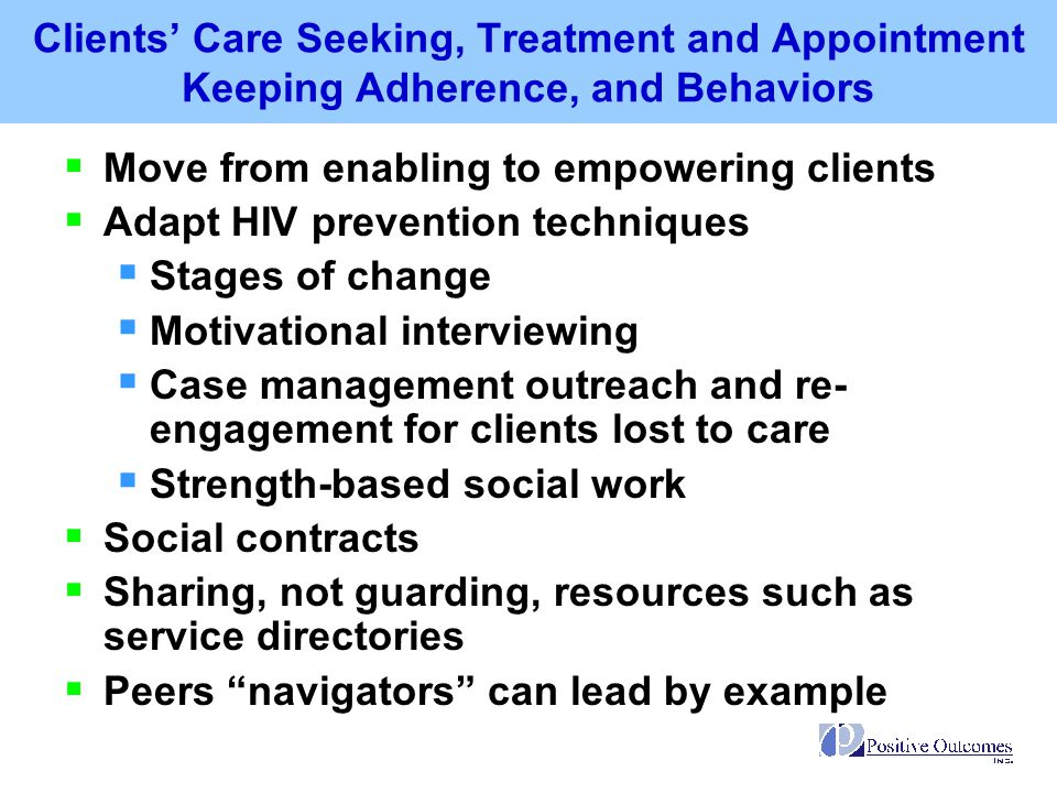 Clients' Care Seeking, Treatment and Appointment Keeping Adherence, and Behaviors