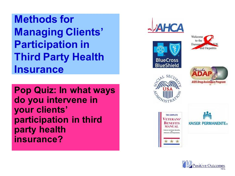 Methods for Managing Clients' Participation in Third Party Health Insurance