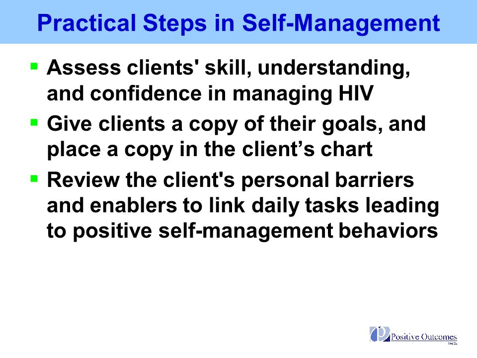 Practical Steps in Self-Management