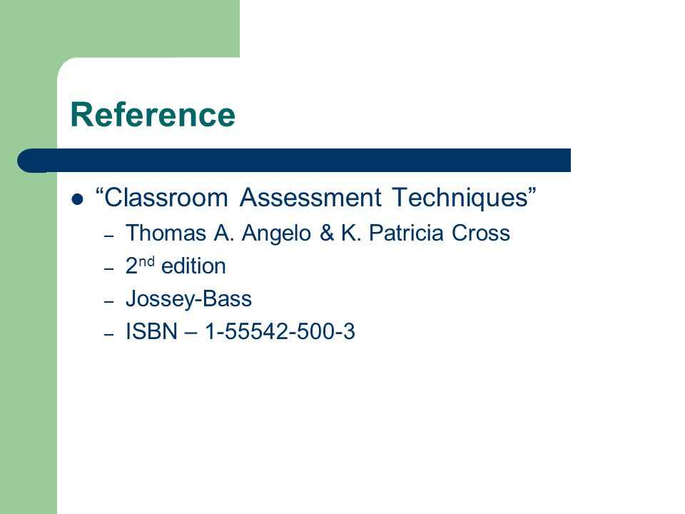 Reference Classroom Assessment Techniques