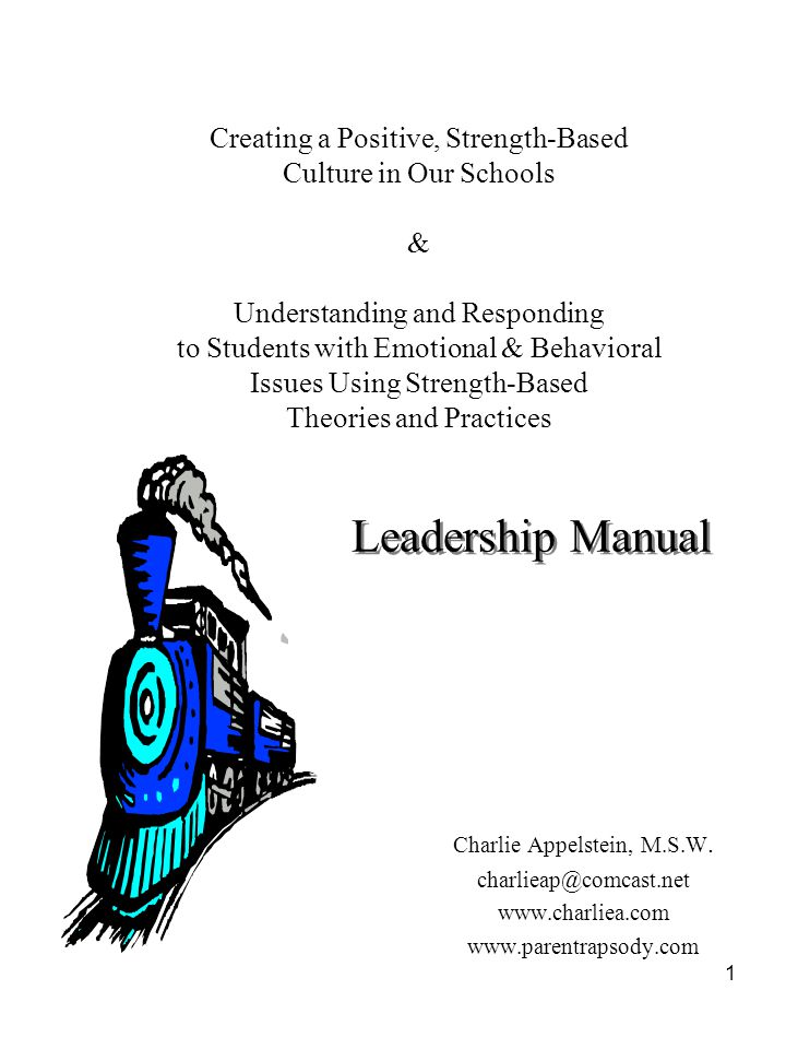 Leadership Manual Creating a Positive, Strength-Based Culture in Our Schools. & Understanding and Responding.