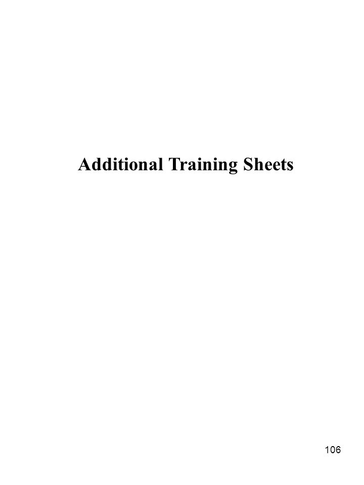 Additional Training Sheets