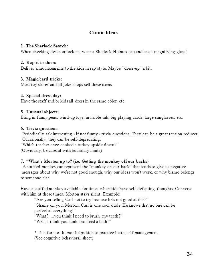 Comic Ideas 1. The Sherlock Search: