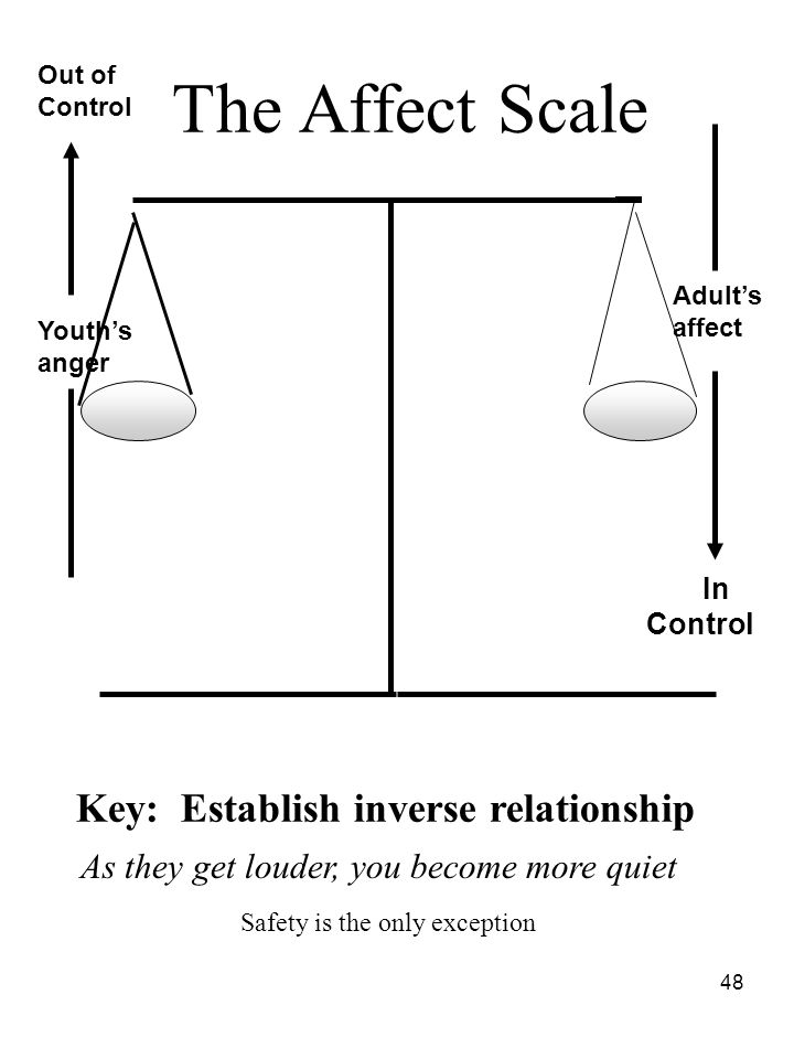 The Affect Scale Key: Establish inverse relationship