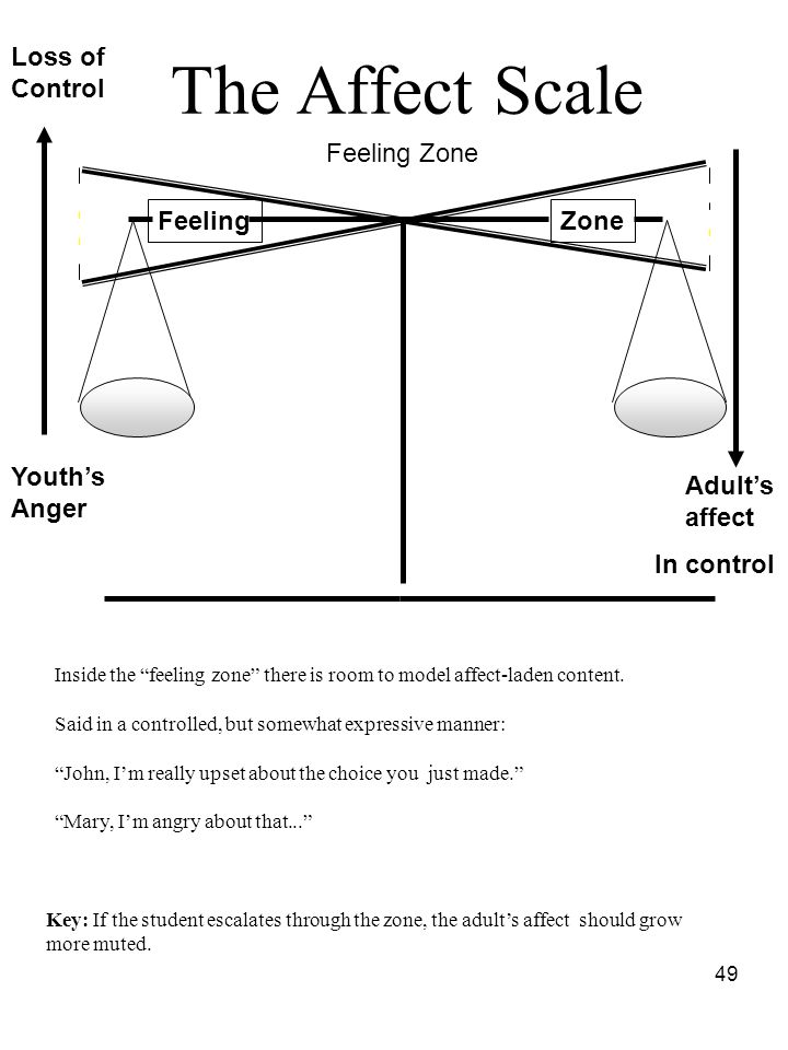 The Affect Scale Loss of Control Feeling Zone Feeling Zone Youth's