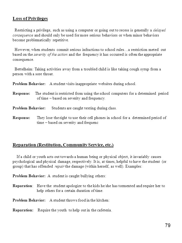 Reparation (Restitution, Community Service, etc.)