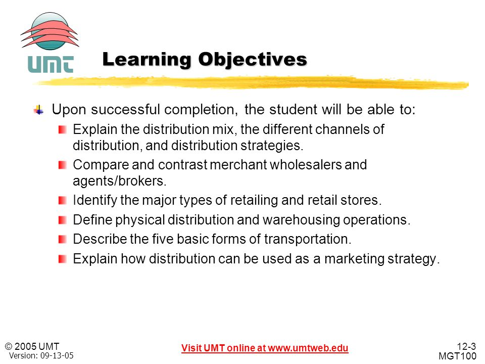 Learning Objectives Upon successful completion, the student will be able to: