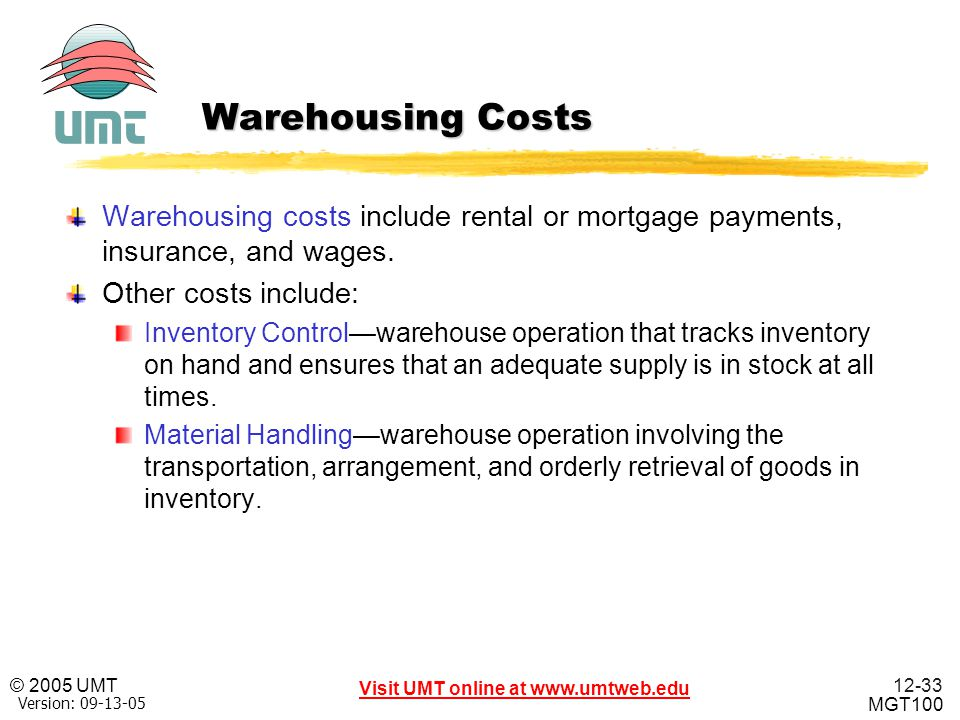 Warehousing Costs Warehousing costs include rental or mortgage payments, insurance, and wages. Other costs include: