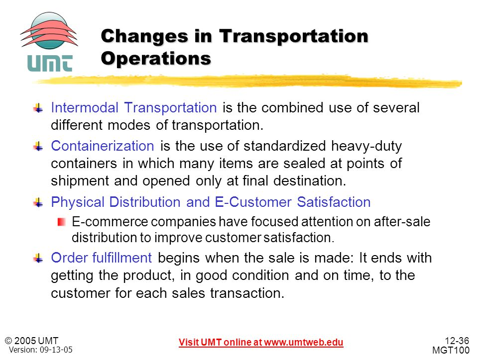 Changes in Transportation Operations
