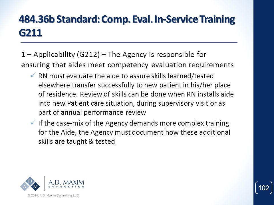 484.36b Standard: Comp. Eval. In-Service Training G211