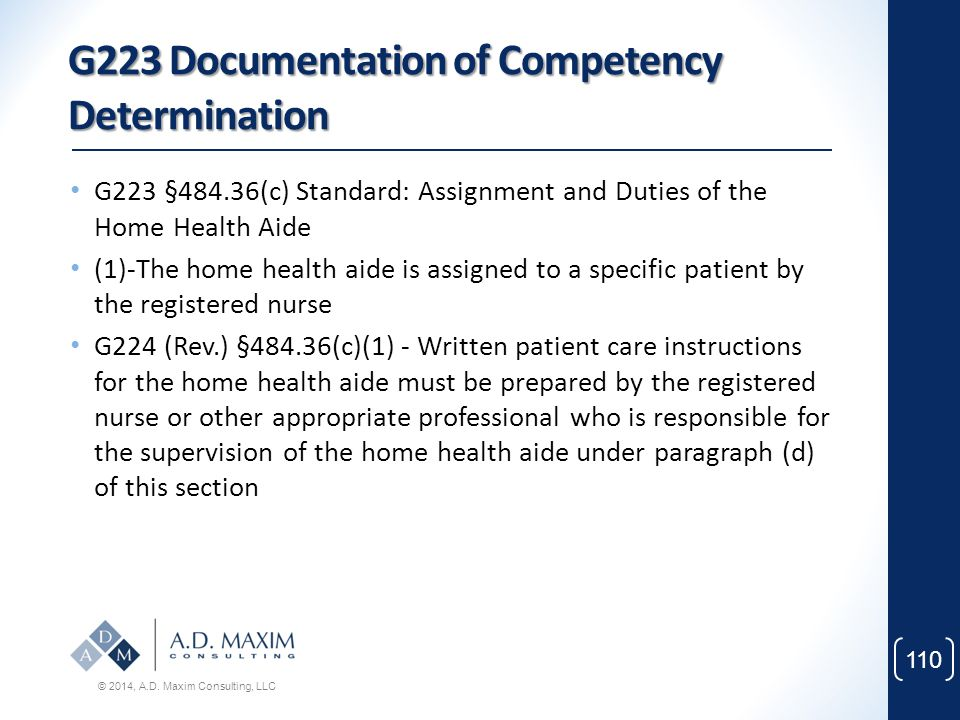 G223 Documentation of Competency Determination