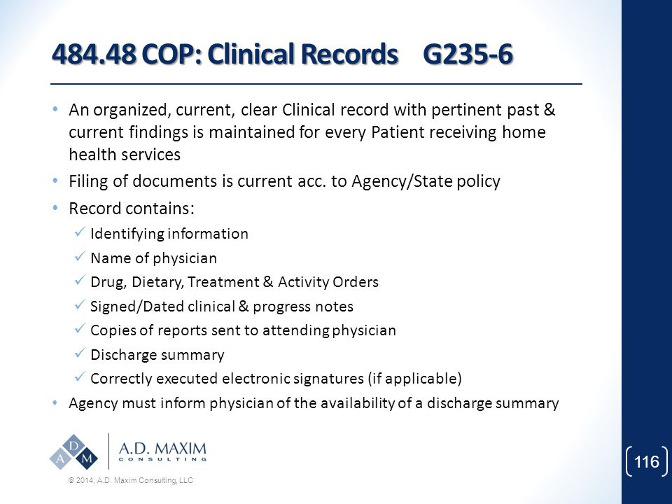 484.48 COP: Clinical Records G235-6