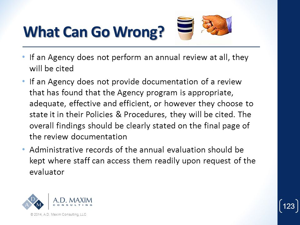 What Can Go Wrong If an Agency does not perform an annual review at all, they will be cited.