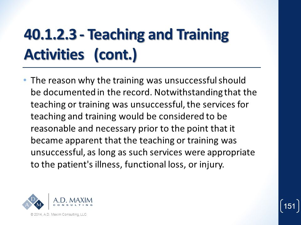 40.1.2.3 - Teaching and Training Activities (cont.)