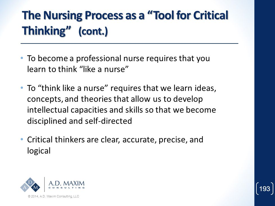 The Nursing Process as a Tool for Critical Thinking (cont.)