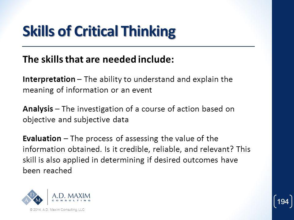 Skills of Critical Thinking
