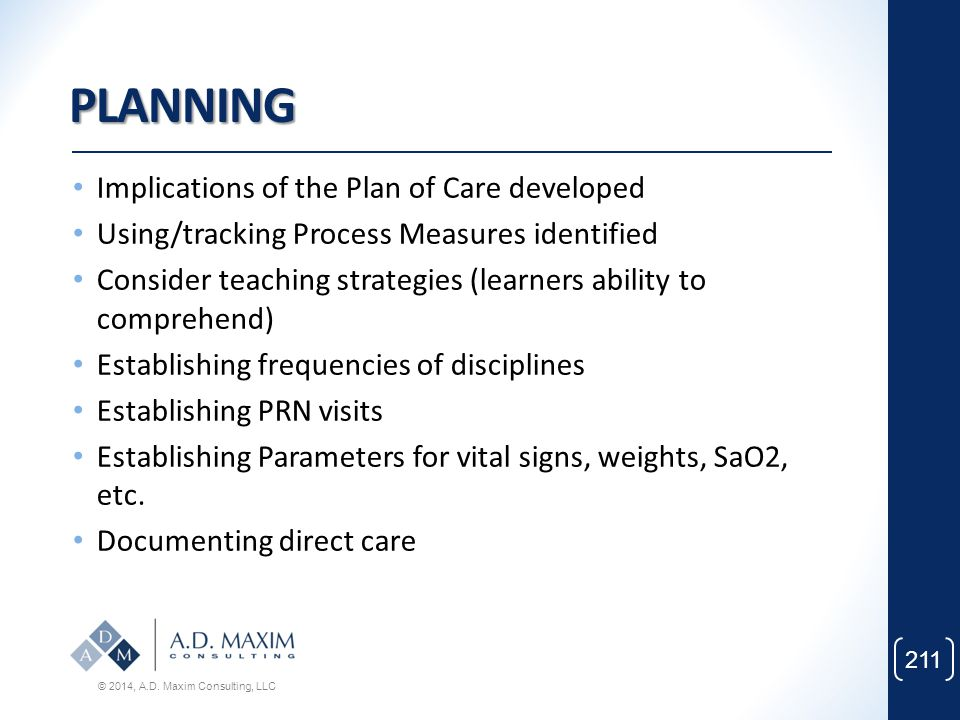 PLANNING Implications of the Plan of Care developed